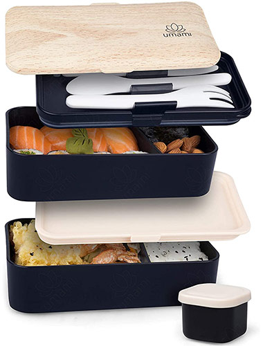 Lunch box design noir bambou